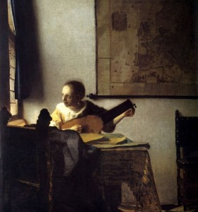 リュートを調弦する女,ギター,フェルメール
